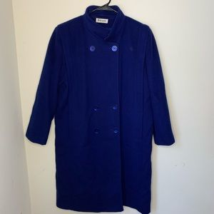 Forecaster of Boston Blue Wool Trench Coat size 14